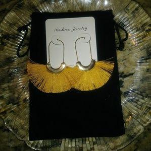 Boho Mustard Color Tassel Earrings